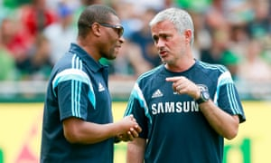 Chelsea manager Jose Mourinho and Technical Director Michael Emenalo during the pre-season friendly against Werder Bremen in August 2014.