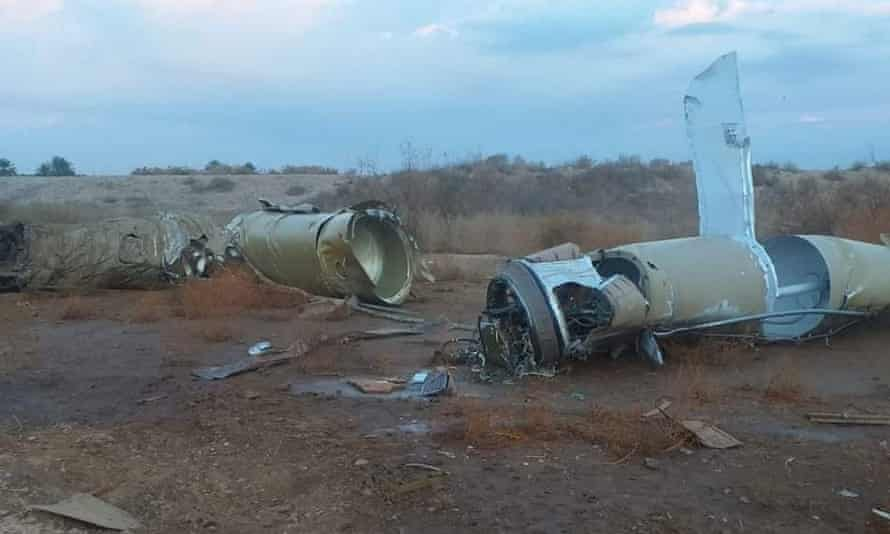 Pieces of missiles near al-Asad airbase
