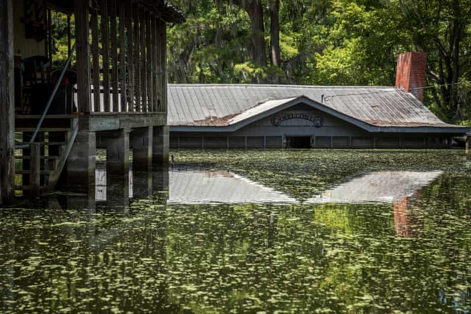 Floodwater remains high at the Mims Mitchell Hunting Club in Issaquena County, Mississipi on July 20, 2019. Due to its lower elevation, the area was engulfed by more than nine feet of water at its peak.