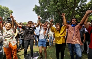 People celebrate after the supreme court decriminalises gay sex