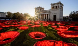 A poppy installation called Never Again at Königsplatz in Munich, southern Germany.