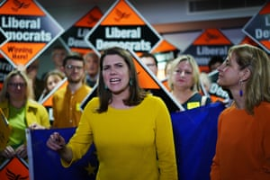 Liberal Democrat leader Jo Swinson addresses activists alongside parliamentary candidate Wera Hobhouse, right, at a campaign rally