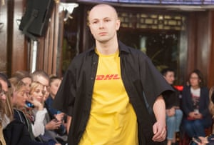 Rubchinskiy opens the Vetements AW15 show at Paris fashion week in his infamous DHL T-shirt.