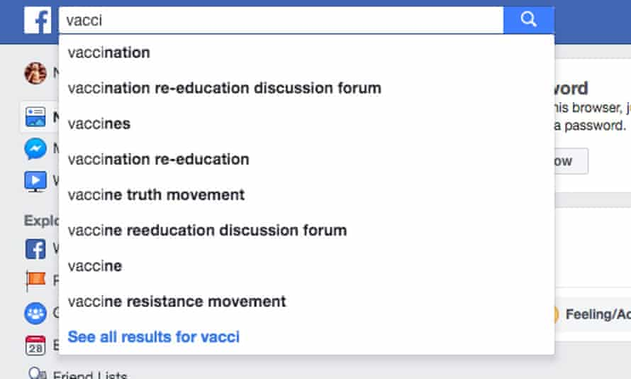 """Facebook's autofill suggestions for """"vacci"""" steers users toward anti-vaccine misinformation."""