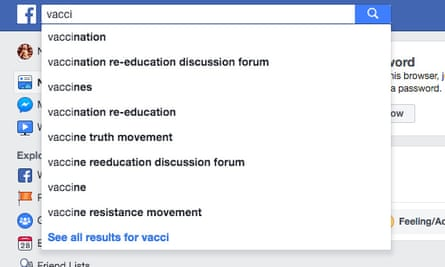 "Facebook's autofill suggestions for ""vacci"" steers users toward anti-vaccine misinformation."