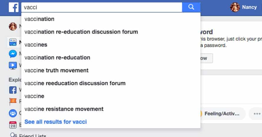 Facebook autofill suggestions for 'vacci'.