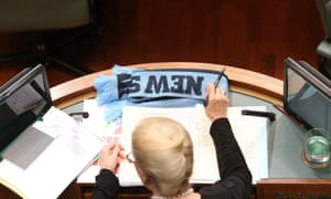 NSW scarf on madam speaker's desk during question time.