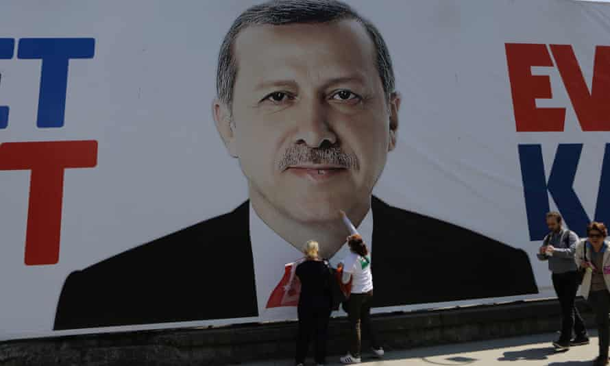 The president's image is everywhere in Turkey during the election campaign.