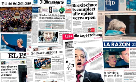 A collage of European newspapers