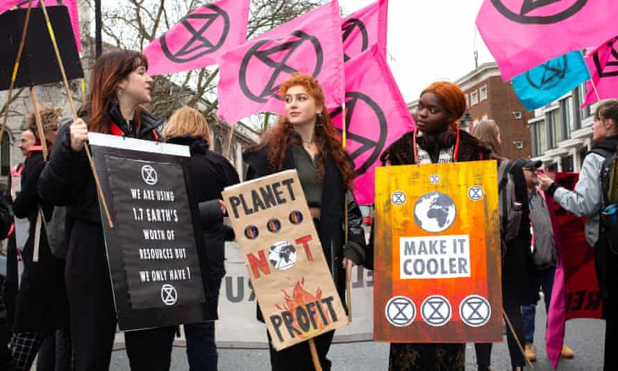 'There's no influencers or celebrities when you are shopping second-hand. No must-haves, no weekly drops' … Extinction Rebellion outside London fashion week earlier this year.