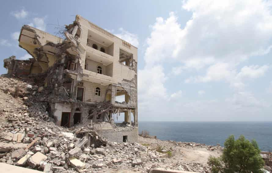 The ruins of the presidential palace in Yemen's southern port city of Aden