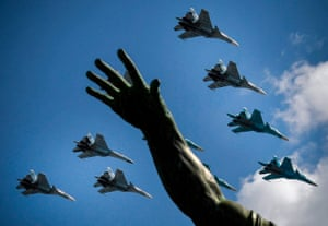 Fighters fly over Red Square