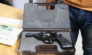 A revolver is shown as a patrol sets out to discover if any cows are being illegally transported.