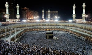 Muslim pilgrims perform the final walk around the Kaaba at the Grand Mosque in Mecca.