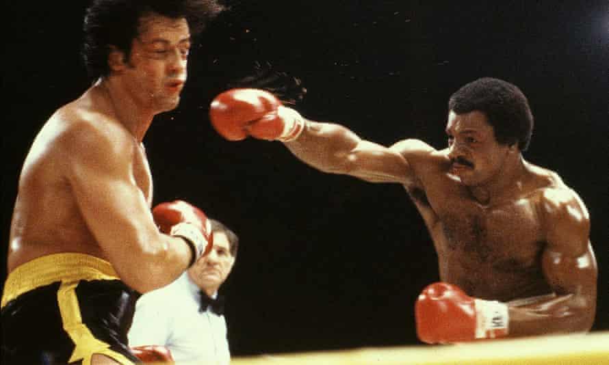 Carl Weathers and Rocky Balboa in Rocky II.