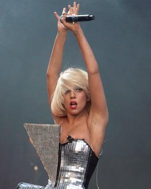 Lady Gaga performing at Glastonbury 2009.