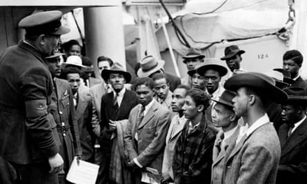 Photo dated 22/06/48 showing Jamaican immigrants being welcomed by RAF officials