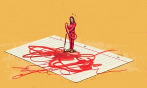 An illustration of a woman dressed in red and with horns, standing on a giant piece of paper and scrawling red paint on it with a brush that has come from her tail