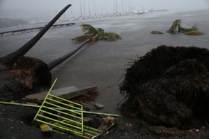 Debris is seen during the storm surge near Puerto Chico harbor in Fajardo, Puerto Rico. The worst of the weather hit Puerto Rico during Wednesday night.