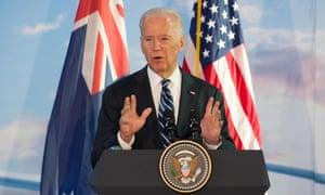 Joe Biden giving a speech in Australia in July.