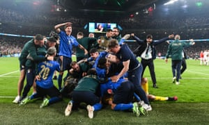 Italy celebrate their victory.
