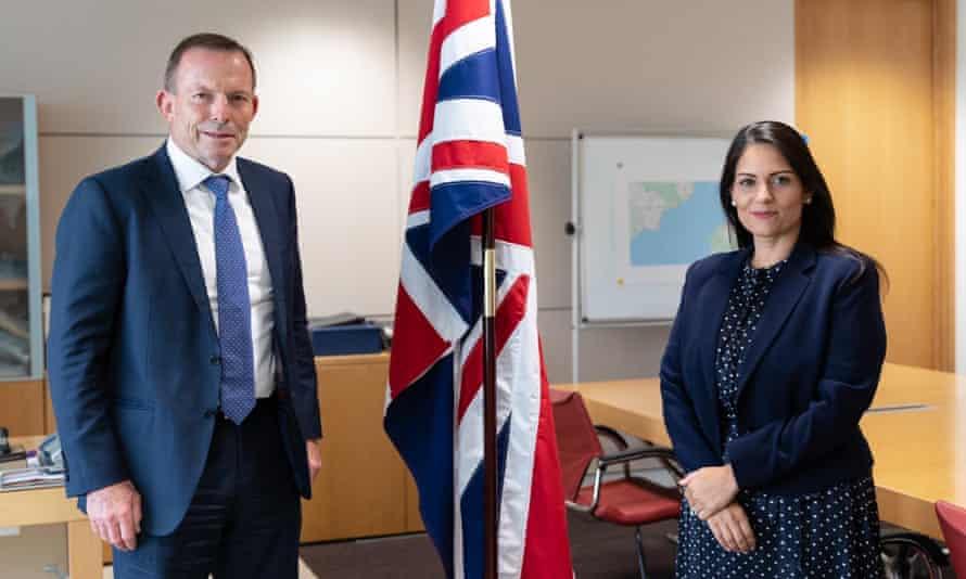 Tony Abbott and the home secretary, Priti Patel