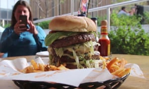 The Vladimir Putin birthday burger, as it appeared in a video report on Russian state media.