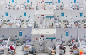 Treatment blocks at a temporary hospital set up in the Krylatskoye Ice Palace to care for Covid-19 patients.