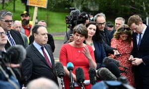 DUP leader Arlene Foster and deputy leader Nigel Dodds speaking to the media at Stormont after their meeting with Boris Johnson.