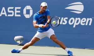 Novak Djokovic practices ahead of this year's US Open as he seeks to defend his title.