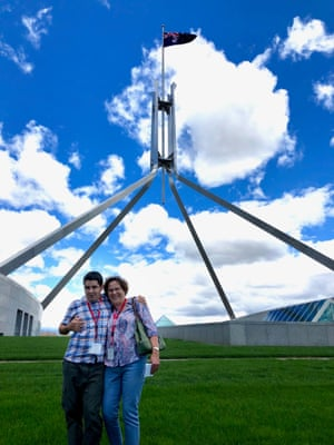 Josh and his mother, Linda Ball, on the roof of Parliament House in Canberra