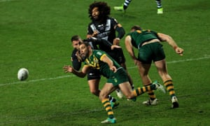 The Australia captain Cameron Smith gets on the ball during their win over New Zealand in Coventry.