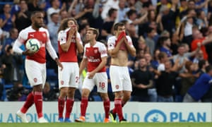 Arsenal's Alexandre Lacazette, Matteo Guendouzi, Nacho Monreal and Sokratis Papastathopoulos react after conceding the third goal.