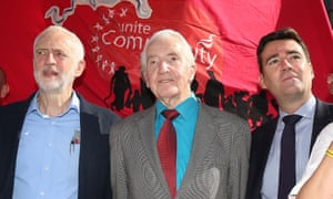 With Jeremy Corbyn and Andy Burnham during a rally for the Orgreave Truth and Justice Campaign outside the Houses of Parliament in London.
