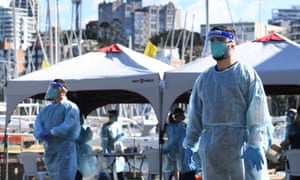 New South Wales health workers carry out Covid-19 tests at a pop-up clinic at Rushcutters Bay in Sydney, Australia, 29 July 2020.