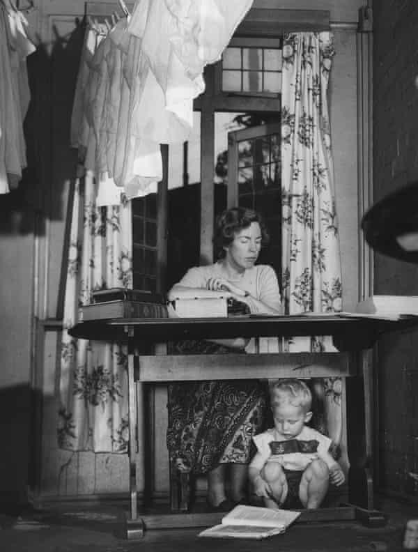 Ruth Park at home with one of her children