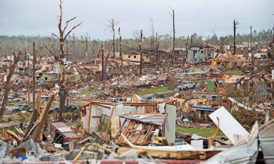 Trail of destruction: the aftermath of a tornado in Alabama.