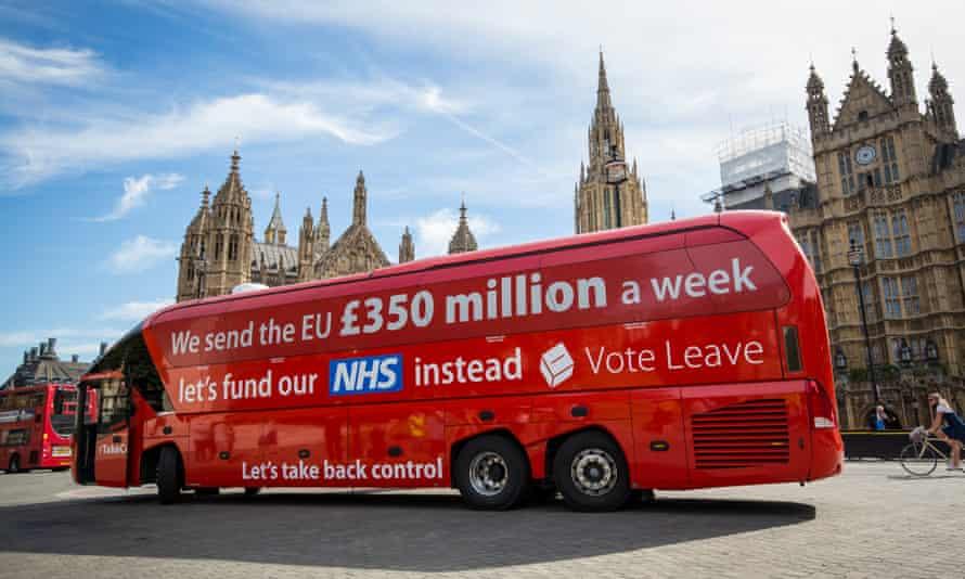 Vote Leave battle bus outside parliament.