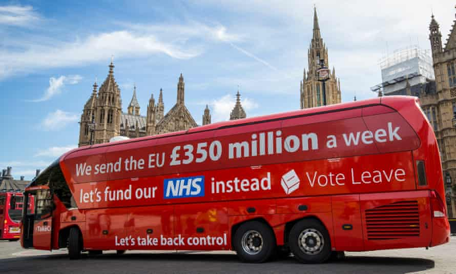 The Vote Leave bus parked outside the Houses of Parliament in Westminster.