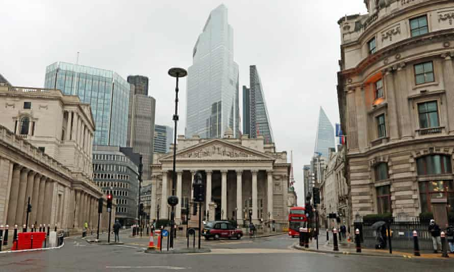 An almost-deserted Bank junction in the heart of the City of London on the first business day of the new year.