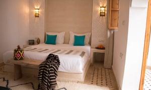 Bedroom at Riad Lamzia, Marrakech, Morocco