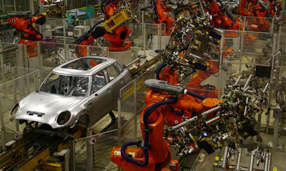 The world of work … the BMW Mini car production plant, Oxford.