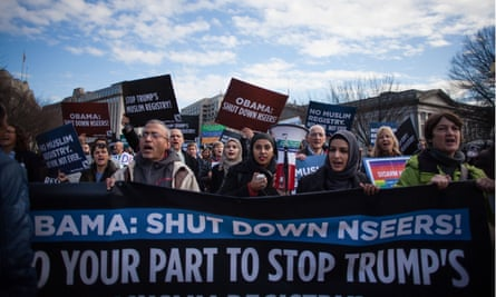 Thousands of Muslim Americans and activists march against Nseers in Washington on 12 December 2016.