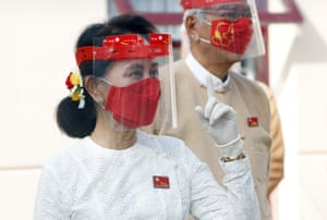 Naypyitaw, Myanmar Aung San Suu Kyi attends a flag-raising ceremony to mark the first day of election campaigning at the National League for Democracy party's temporary headquarters in Naypyitaw. Myanmar holds a general election on 8 November