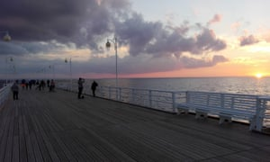 Sunset seen from the pier at Jurata, on the Hel peninsula near Sopot, northern Poland.