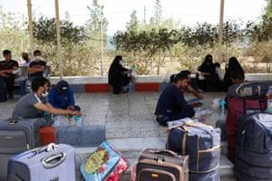 Afghan nationals in a refugee camp