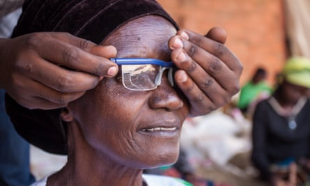 A woman has her eyes tested as part of the Ministry of Health's drive to establish a nationwide eye care service accessible to all Rwandans.