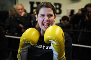 London, UK. Jo Swinson, leader of the Liberal Democrats, campaigns at a boxing gym for young people