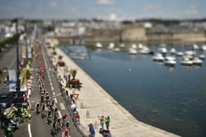 A shot taken with a tilt and shift len of the pack riding along the harbour of Concarneau