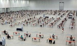 Socially distanced exams in South Korea.
